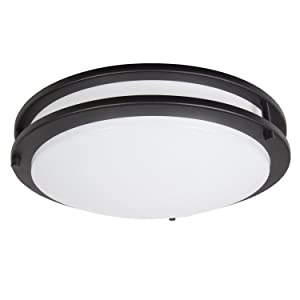 "Maxxima 14"" Black LED Ceiling Mount Light Fixture - Warm White, 1650 Lumens Dimmable, 3000K"