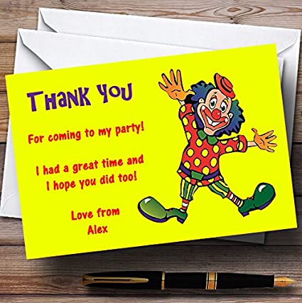 Yellow Clown Personalized Childrens Party Thank You Cards