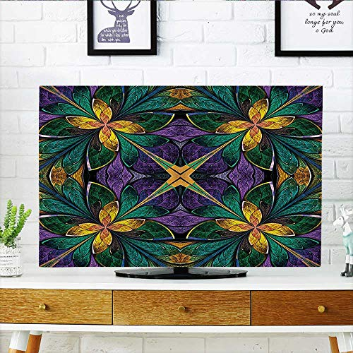Cover for Wall Mount tv Ornate Symmetric Stained Glass Window Style Embellished Floral Pattern Green Purple Cover Mount tv W35 x H55 INCH/TV 60
