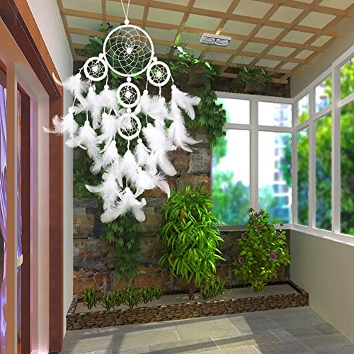 Handmade Dream Catcher Circles Net with Feathers Wall Hanging Cobalt White Ornament for Home Decoration