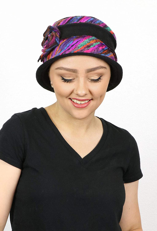 2eb6bde2734 Women s Hat Fleece Cloche Cancer Headwear Chemo Ladies Winter Head Coverings  Abby (BLACK) at Amazon Women s Clothing store