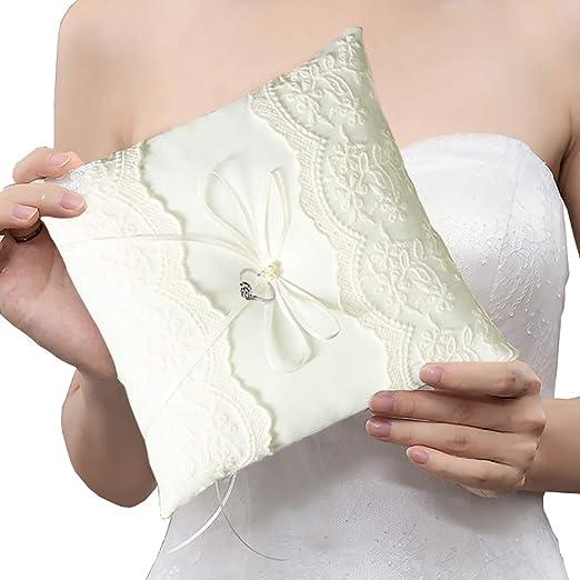 White Satin Big Bowknot Wedding Bridal Ring Bearer Pillow Cushion 20 x 20 cm