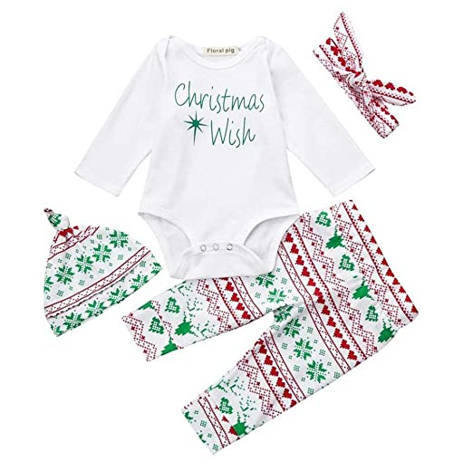 Careful 3pcs Newborn Infant Baby Boy Girl Christmasmy First Christmas Romper Deer Pant Clothing, Shoes & Accessories