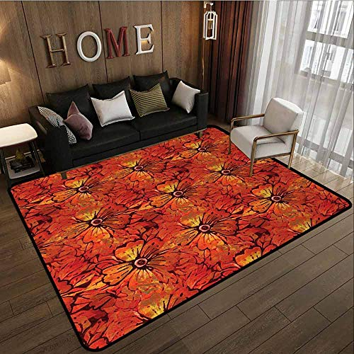 Bedroom Rug,Batik,with No-Slip Backing,3'3