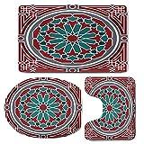 3 Piece Bath Mat Rug Set,Arabian,Bathroom Non-Slip Floor Mat,Elegant-Islamic-Original-Old-Style-Ornate-Persian-Pattern-with-Victorian-Artsy,Pedestal Rug + Lid Toilet Cover + Bath Mat,Red-Grey-Teal