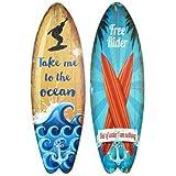 CAPRILO Set de 2 Perchas Pared Decorativas de Madera Tablas Surf. Cuadros y Apliques. Decoración Hogar.