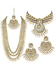 Aheli Indian Wedding Kundan Beaded Bridal Long Choker Necklace Earrings with Maang Tikka Traditional Jewelry Set for Women (White)