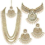 Aheli Indian Wedding Kundan Beaded Bridal Long Choker Necklace Earrings with Maang Tikka Traditional Jewelry Set for Women (Multi)