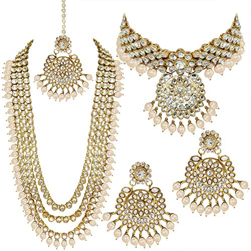 Aheli Indian Wedding Kundan Beaded Bridal Long Choker Necklace Earrings with Maang Tikka Traditional Jewelry Set for Women (White) (Kundan Jewelry)