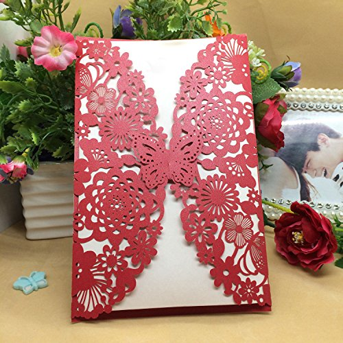 50PCS Pear Paper Laser Cut Bronzing Wedding Baby Shower Invitation Cards with Butterfly Hollow Favors Invitation Cardstock for Engagement Birthday Graduation (Red)