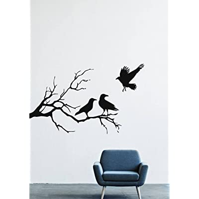 Halloween Wall Decals Decor Vinyl Stickers Silhouette Branch Forest Tree Nature Crow Bird Silhouette Branch Animal LM2151 (w35 h21): Home & Kitchen