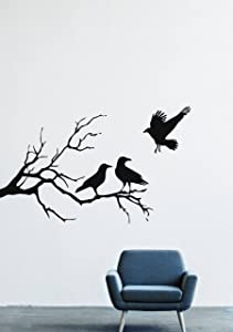 Halloween Wall Decals Decor Vinyl Stickers Silhouette Branch Forest Tree Nature Crow Bird Silhouette Branch Animal LM2151 (w35 h21)