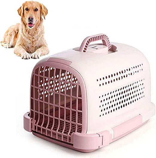 FXQIN Portador de Mascotas Aprobado por la aerolínea, Jaula para Perros con Puerta, manija ergonómica, Caja de Viaje para Coche de Perrera al Aire Libre para Animales pequeños, Rosa: Amazon.es: Productos para
