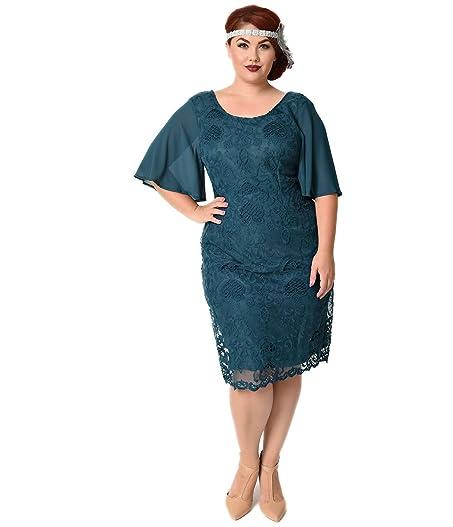 Amazon Plus Size 1930s Style Dark Teal Angel Sleeve Lace