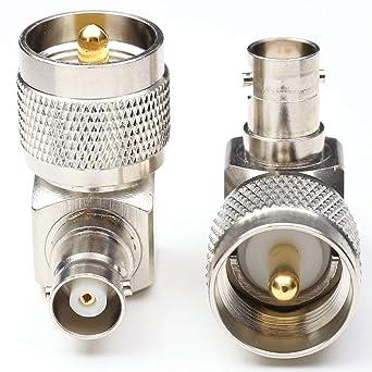 BNC hembra a UHF macho ángulo recto adaptador 90 grados PL259 RF cable coaxial conector Pack