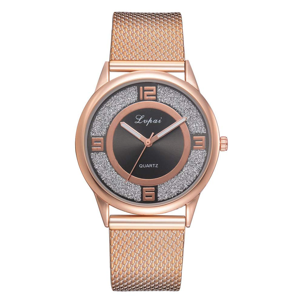 Womens Watches On Sale, VANSOON Ladies Casual Quartz Silicone Strap Band Watch Analog Wrist Watch Stainless Steel Band Teen Girls Dress Simple Bracelet Watches Gift Clearance