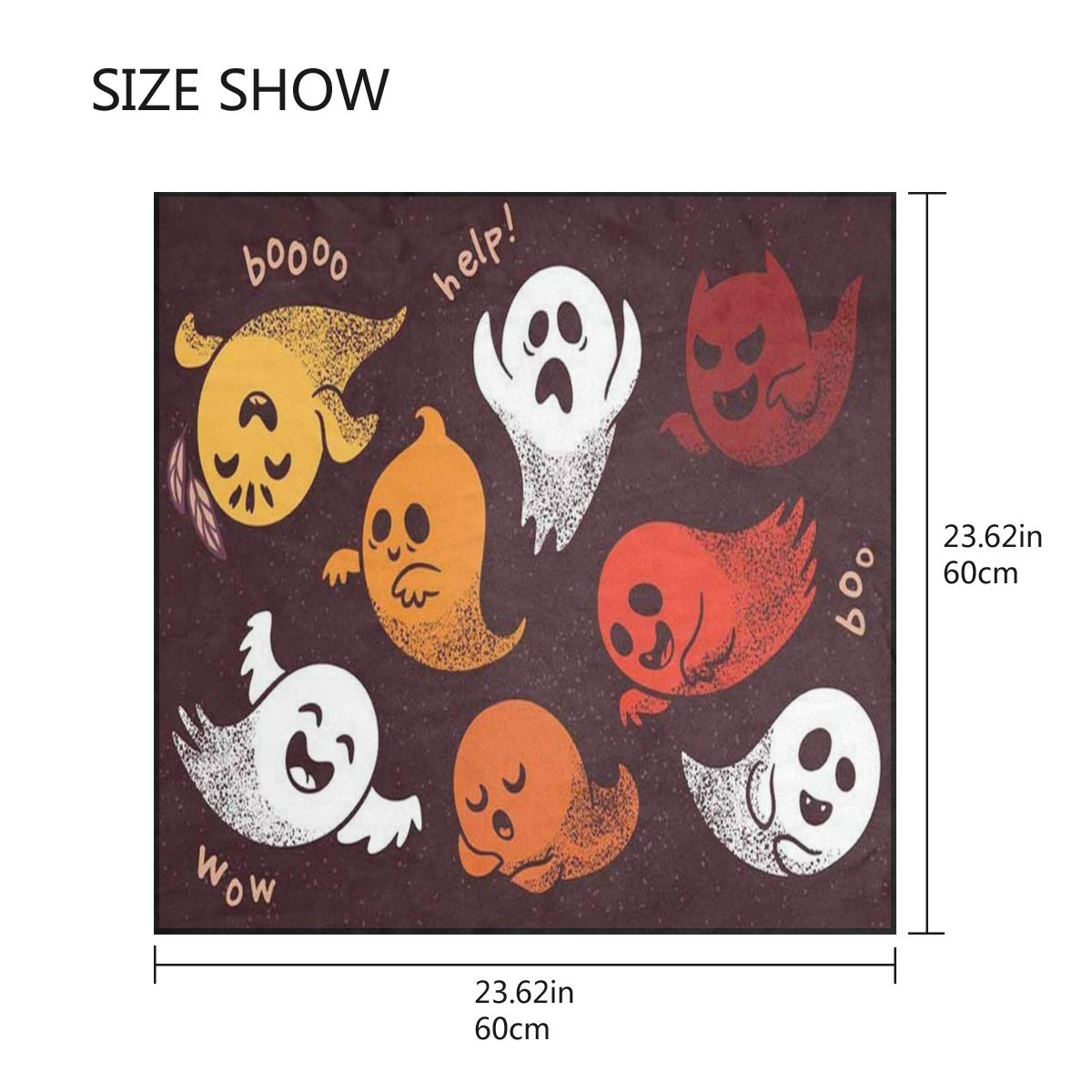 Scarf Halloween Seamless Pattern Skulls Ghosts Cats Ladies Square Silk Scarves Shawl Wrap Girls for Women