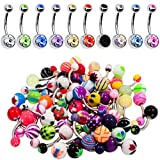BodyJ4You 60PC Belly Button Ring Set 14G Mix CZ Steel Acrylic Bioflex Banana Bar Body Piercing Jewelry