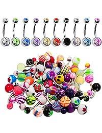 BodyJ4You 60PC Belly Button Ring Set 14G Mix CZ Steel Acrylic Bioflex Banana Bar Body Piercing Jewelry