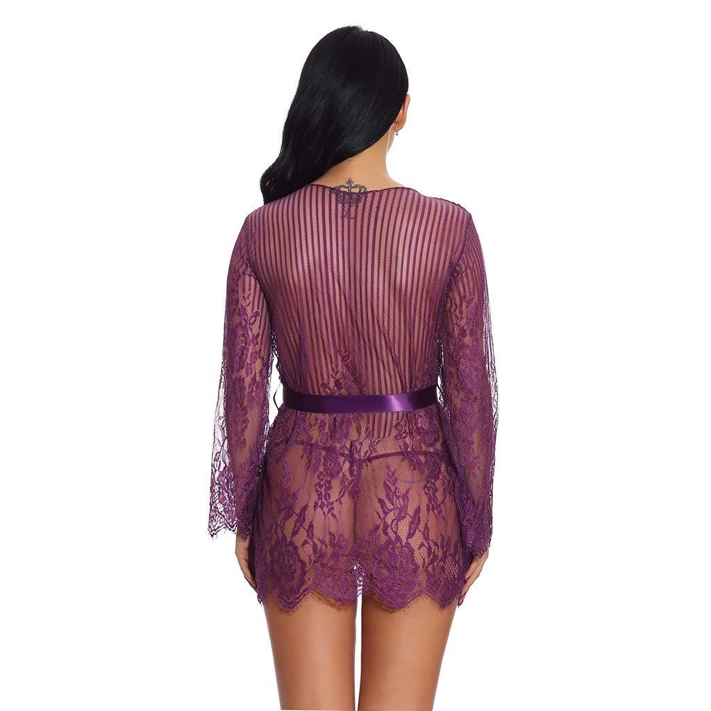 Whear Womens Lace Teddy Lingerie One Piece Kimono Robe Babydoll Mini Bodysuit Mesh Nightgown Sheer Chemises Underwear