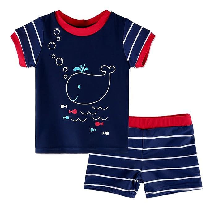 0b1bb0985 Amazon.com  HUANQIUE Baby Toddler Boy Swimsuit Rashguard Set UPF 50+ ...
