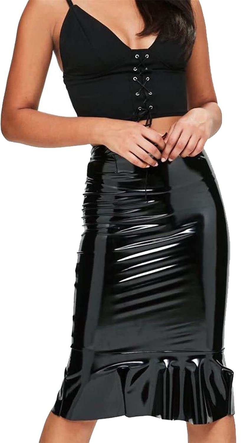 Womens Wet Look Shiny Faux Frill Midi Skirt Ladies PVC Pencil Leather Skirt FASHION FAIRIES