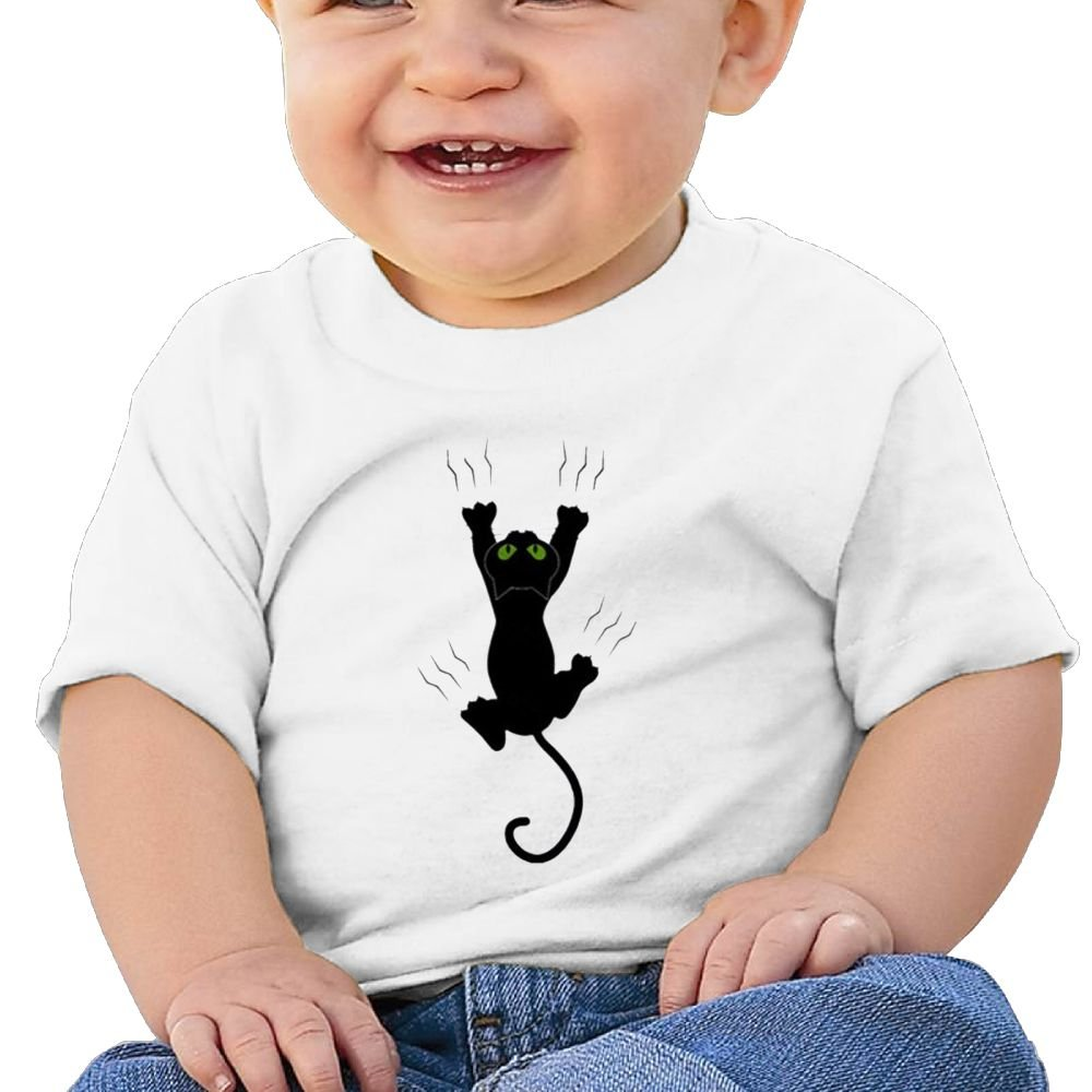REBELN Funny Black Cat Cotton Short Sleeve T Shirts For Baby Toddler Infant