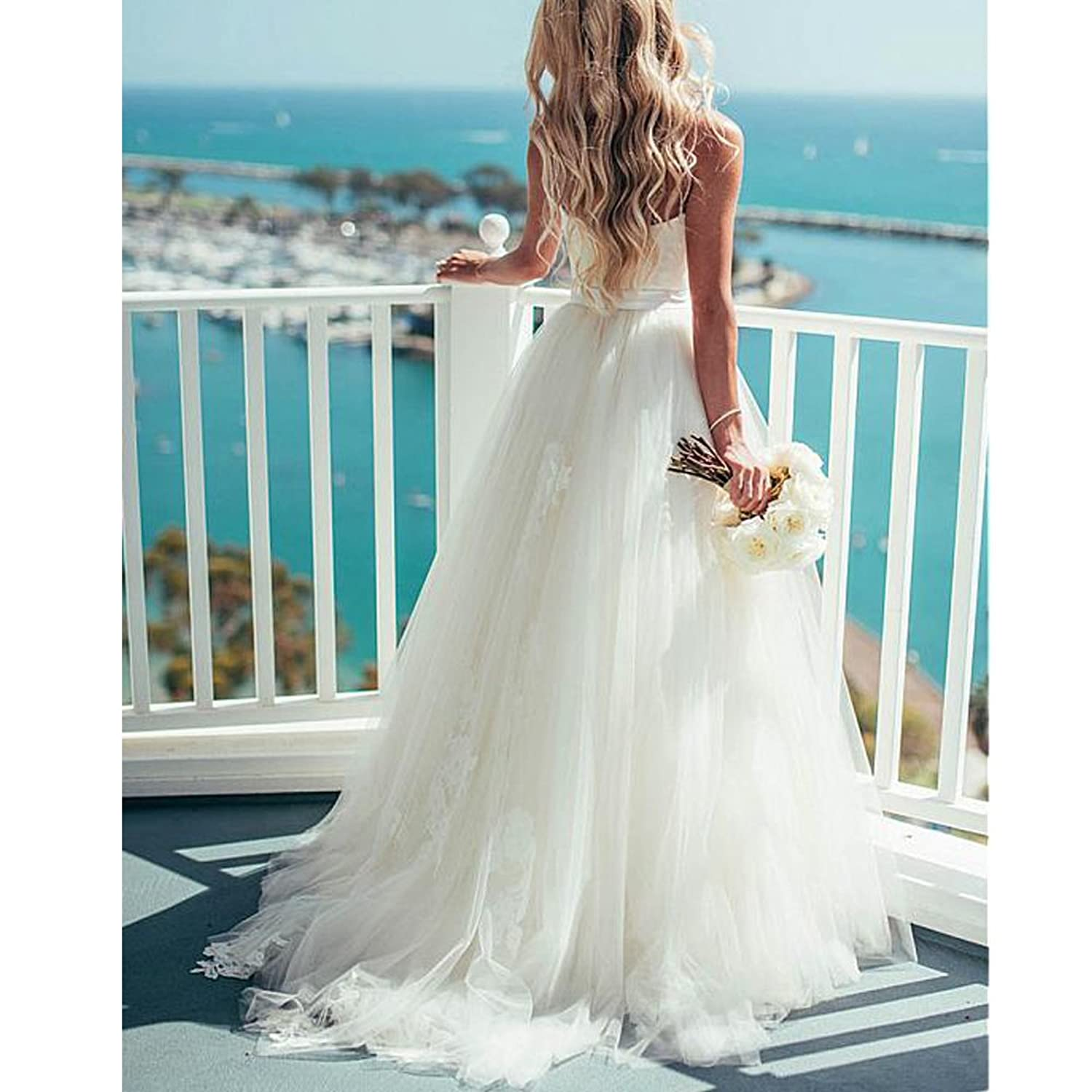 Nicefashion Spaghetti Strap Boho Lace Tulle Beach Wedding Dress ...