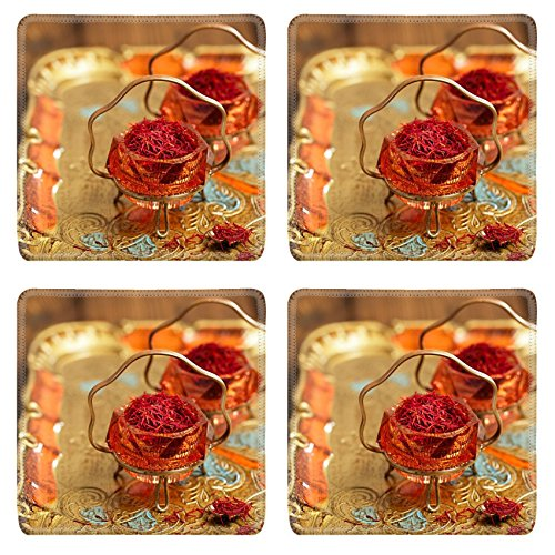 Luxlady Square Coaster saffron spice in antique vintage glass bowl closeup IMAGE 38205470 Customized Art Home Kitchen