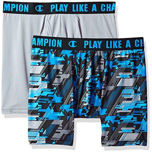Champion Men's Ultra Lightweight Boxer Brief Concrete, Black/Blue Camo, Large