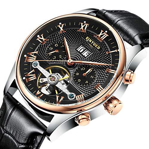 her Strap Waterproof Tourbillon Mechanical Watch Men Skeleton Calendar Automatic Watch ()