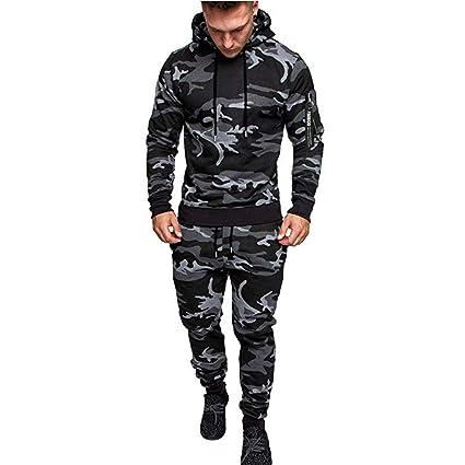 Hombre Chandal SUNNSEAN Trajes de Conjuntos Causal Camouflage ...