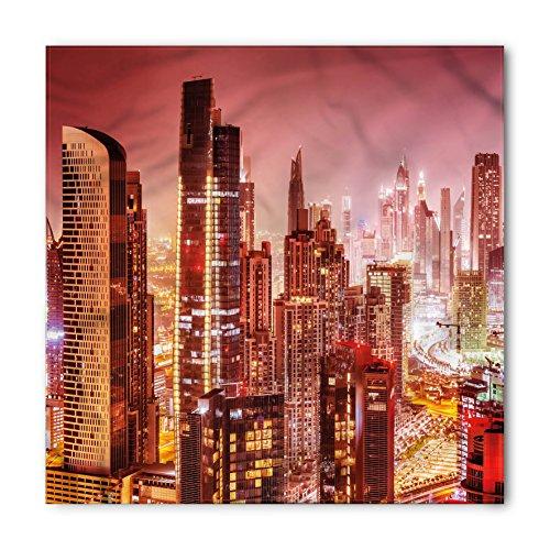 Ambesonne Cityscape Bandana, Dubai at Night Cityscape with Tall Skyscrapers Panorama Picture Arabian Peninsula, Printed Unisex Bandana Head and Neck Tie Scarf Headband, 22 X 22 Inches, -