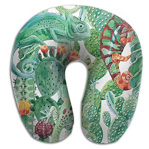 Chameleon Full Case (BRECKSUCH Watercolor Chameleon And Cactus Print U Shaped Pillow Memory Foam Neck Pillow For Travel And Relief Neck Pain Fashion Super Soft Cervical Pillows With Resilient Material Relex Pollow)
