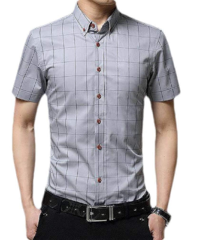 Smallwin Men Check Slim Casual Button Down Short Sleeve Shirts