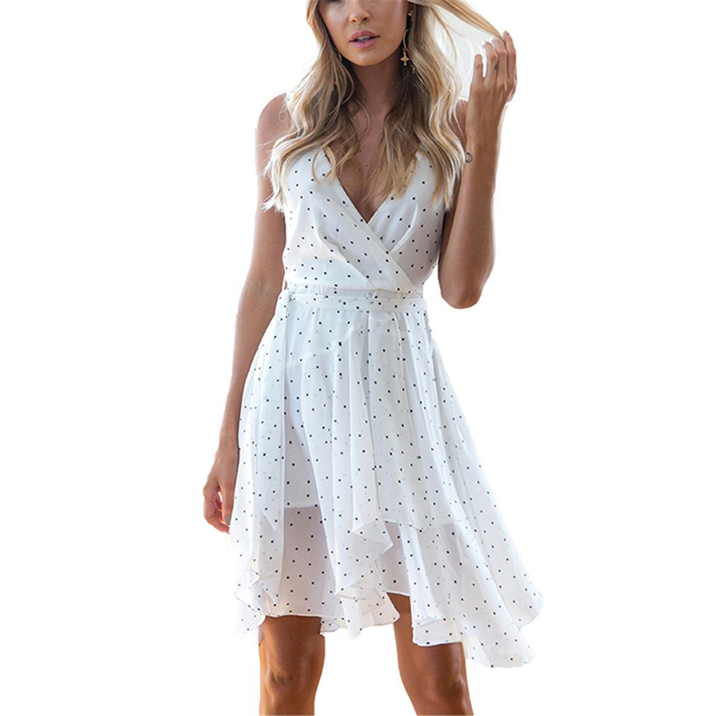 V-Neck Polka Dot Print Spaghetti Strap Dress Elegant Backless Asymmetrical White M