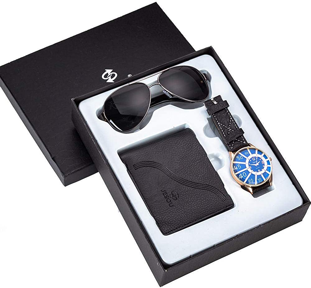 Set De Regalo para Hombre Regalo para Hombre Bellamente Empaquetado Reloj Billetera Gafas De Sol Conjunto Dinero Creativo Combinación Negro: Amazon.es: Relojes