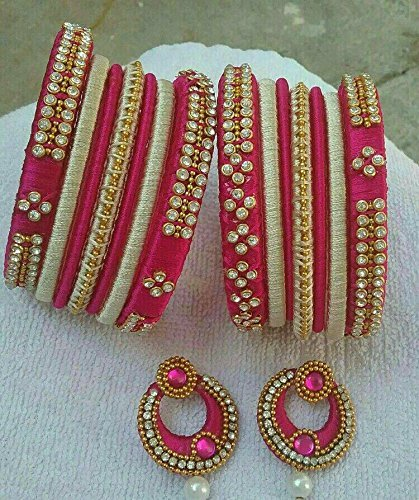 dea22090fd0 Buy Half white and Pink Bangles with chandbali.bangle size2.4, 2.6, 2.8  Online at Low Prices in India   Amazon Jewellery Store - Amazon.in