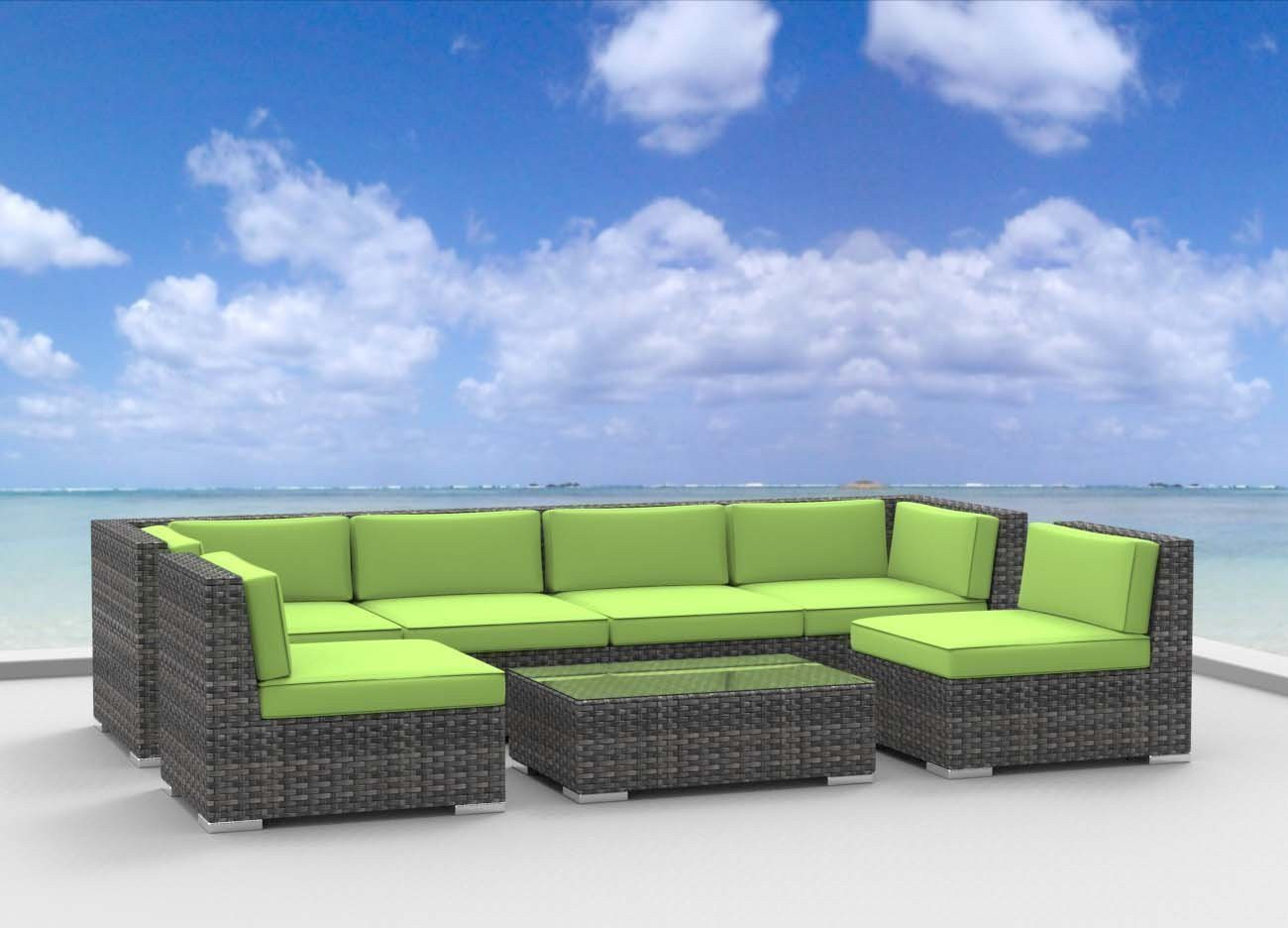 Urban Furnishing.net - OAHU 7pc Modern Outdoor Wicker Patio Furniture Modular Sofa Sectional Set, Fully Assembled - Lime Green -  - patio-furniture, patio, conversation-sets - 61qRw%2Bb4WwL -