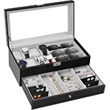 TomCare Upgraded Watch Box Watch Case Watch Organizer Holder?Jewelry Display Box Case Drawer Sunglasses Storage Earrings Storage Organizer Lockable with Glass Top and PU Leather for Men Women, Black