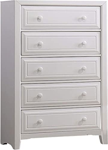 Benjara , White Transitional Wooden Chest with Five Drawers and Molding Design