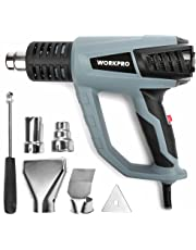 WORKPRO Heat Gun 1500W 122°F-1112°F(50°C-600°C) Three-Speed Temperature with Five Metal Nozzle Attachments and a Case
