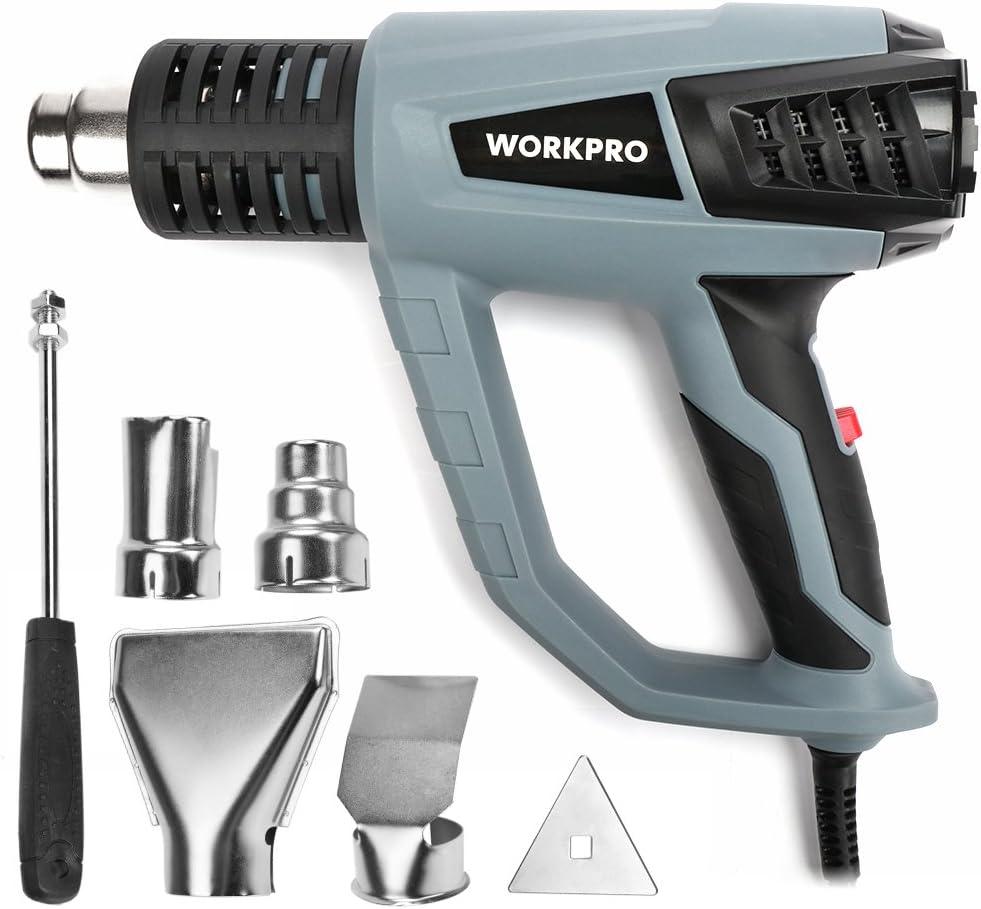 WORKPRO Pistola de Aire Caliente Decapadora Profesional 2000W 230V/50Hz Cable de 2m con 6 Accesorios 50-400-600℃ 250-500 L/min