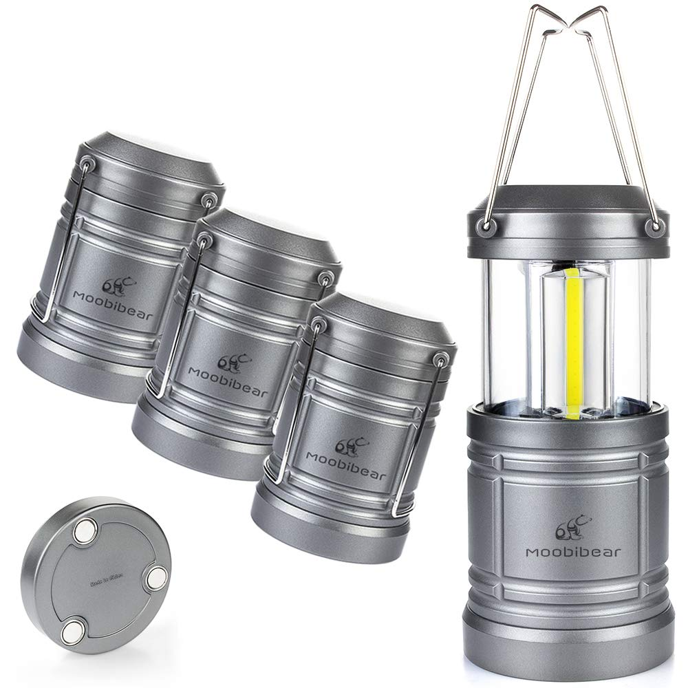 4 Pack LED Camping Lantern Lights Collapsible - Moobibear 500lm COB Technology Waterproof Lantern Battery Powered with Magnetic Base for Night, Fishing, Hiking, Emergencies by Moobibear