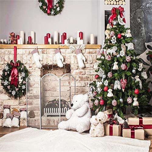 Baocicco Interior Christmas Eve Backdrop 10x10ft Photography Background Christmas Tree Brick Fireplace Stocking Christmas Wreath Bear Doll Gift Box Candles Christmas Decoration Children ()