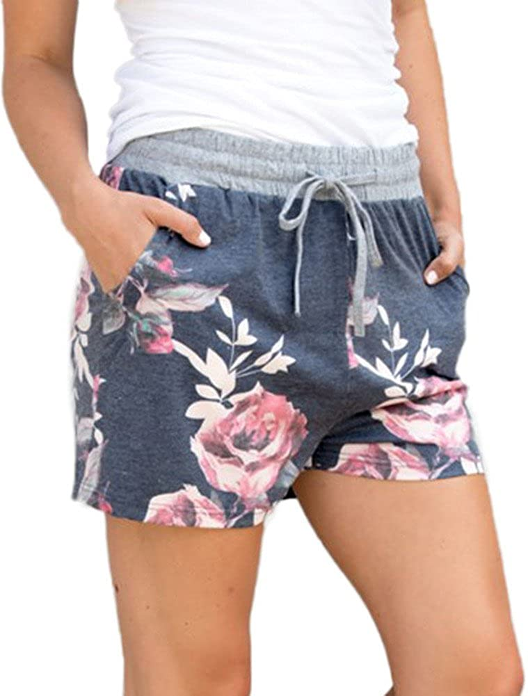 DUOLIFU Women Floral Printed Activewear Lounge Shorts with Pocket