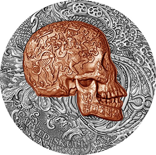 (2017 CM Carved Skulls Bones PowerCoin CARVED SKULL Bones 1 Oz Silver Coin 1000 Francs Cameroon 2017 Antique Finish)