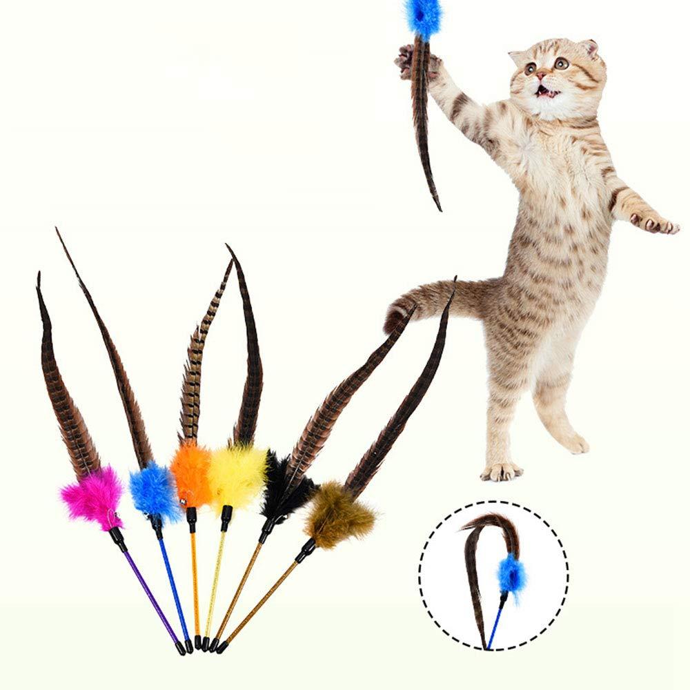 6 colors FELICIPP Pet Cat Toy Cat Cat With Bells Cat Toy Funny Cat With Feathers (color   6 colors)