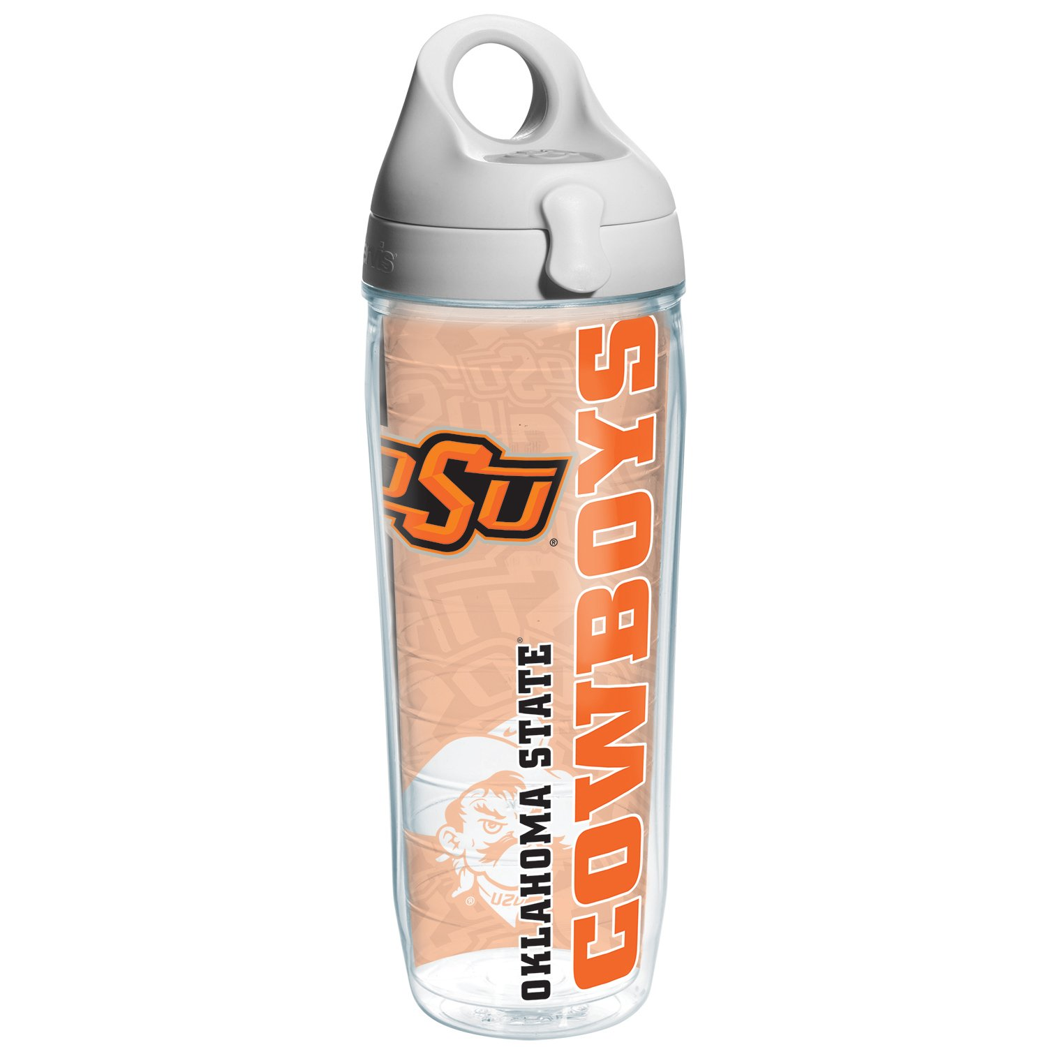 Tervis Oklahoma State College Pride Water Bottle with Grey Lid, 24 oz, Clear