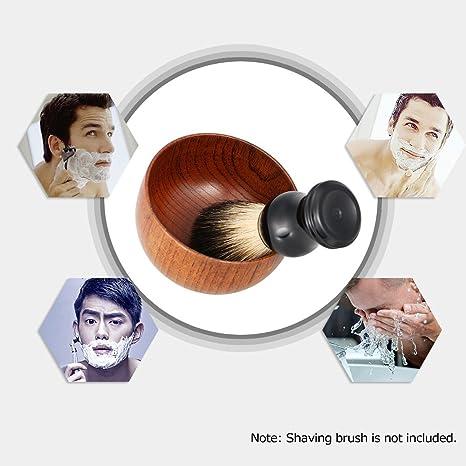 Anself - Cuenco de jabón de madera, accesorios de afeitado para hombres, color marrón: Amazon.es: Belleza